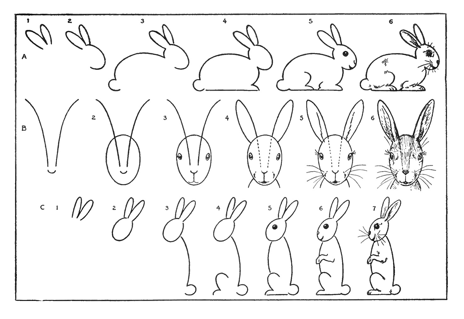 Рисунки зайцев по схеме