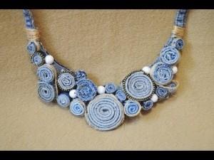 Джинсовое ожерелье своими руками