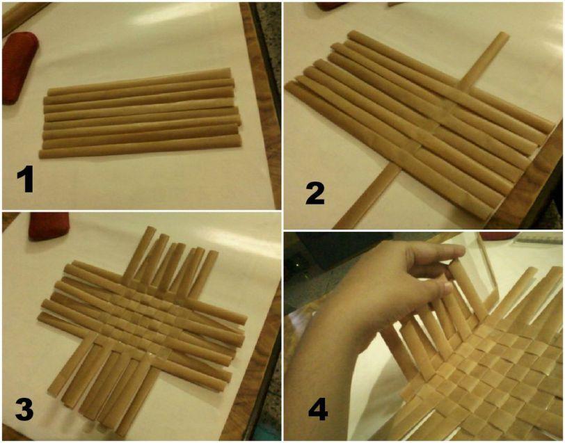Как сделать плетёную корзинку из бумаги 134
