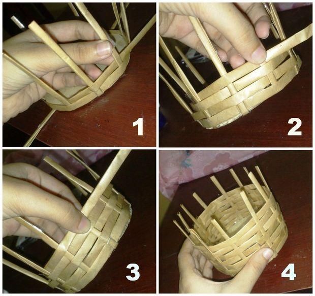 Плетение с своими руками из бумаги корзины 384