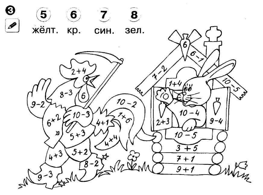 Раскраски с числами и примерами